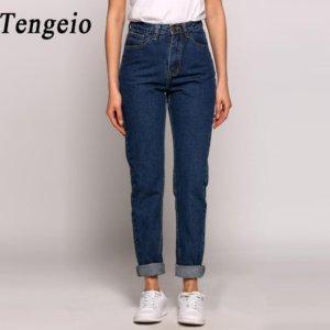 TENGEIO High Waist Boyfriend Jeans