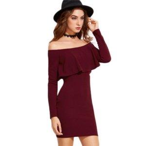 COLROVIE Off Shoulder Mini Ruffle Dress