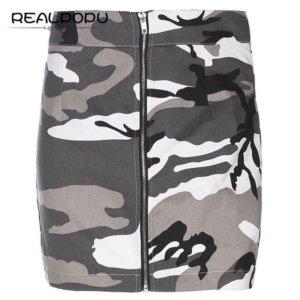 Zipper High Waist Camouflage Mini Skirt
