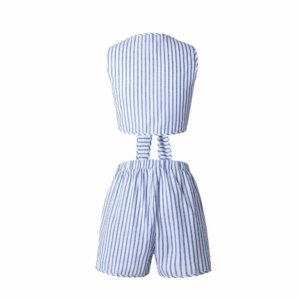 LIVA GIRL Two Piece Set Blue Striped Rompers