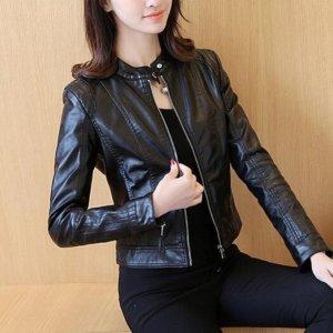 Slim Female Soft Leather Motorcycle Jacket