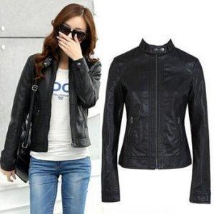 PU Leather Jacket Motorcycle Temale Women