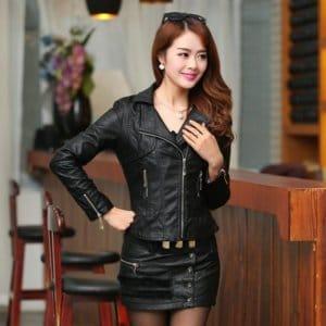 Women Pu Leather Jacket Elegant Punk Coat