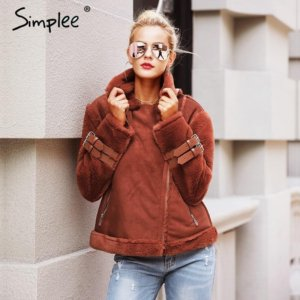 Simplee Faux leather suede lamb fur jacket coat