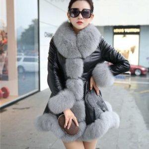 Women's Leather Jacket Faux Fox Fur Collar