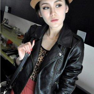 Turn Down Collar Women Leather Jackets