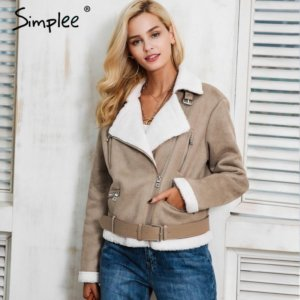 Faux suede jacket winter coat