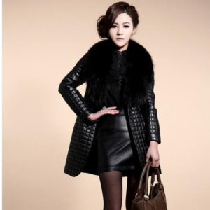 Long Section Fur Collar Leather Jackets