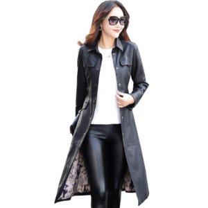 Women Long Leather Jacket 2018 New Fashion