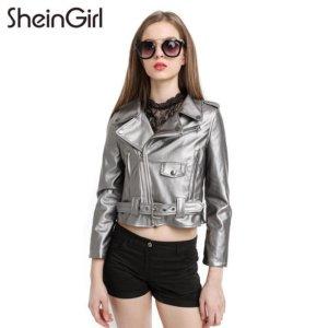 PU Biker Faux Leather Jacket Silver Grey