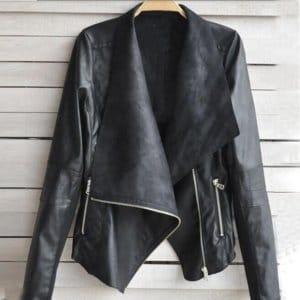 Faux Leather Zipper Jacket Casual Outwear