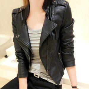 Uwback Faux Black  Leather Jacket
