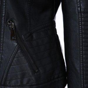 AORRYVLA Women Fashion Black Faux Leather Jacket