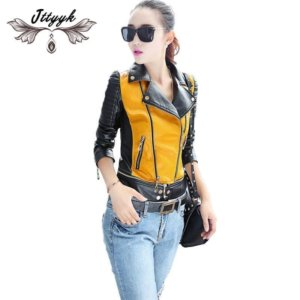 PU Leather Motorcycle jacket patchwork color