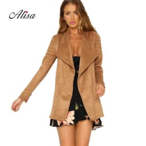 Pink Outwear Medium Long Suede Coat