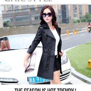 Korean Long Section sheep leather coat