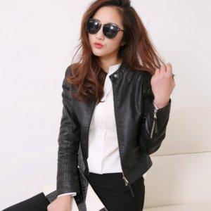 FTLZZ European Style O Neck PU Leather Jacket