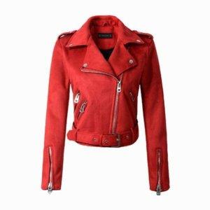 Down Colors Suede Faux Leather Jacket