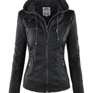 Gothic Faux Leather Jacket Women Hoodies