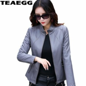 Gray Casual PU Women's Faux Leather Jackets Coat