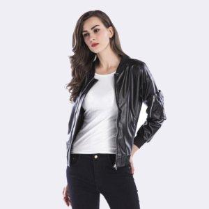 Casual Slim Punk Faux Leather Jacket Long Sleeve
