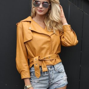 Faux Leather Coat Fashion yellow three quarter sleeve