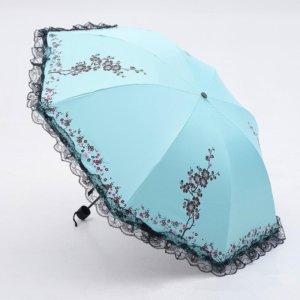 6 Colors Parasol lace three folding umbrella