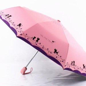 Windproof Cute Cat Automatic Umbrella Parasol Lady