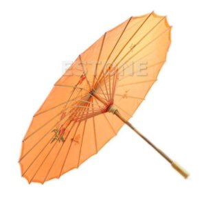 Art Deco Painted Parasol Umbrella