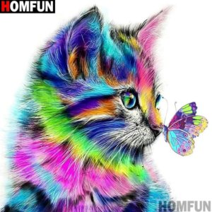 Diamond Painting Cat butterfly